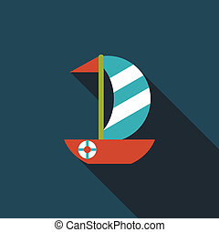 Sailboat flat icon with long shadow