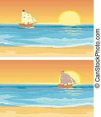 Sailboat floating on the sea. Vector flat illustration.