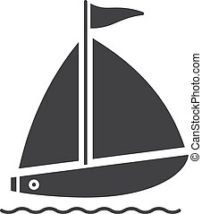 Sailboat glyph icon. Silhouette symbol. Yachting. Negative ...