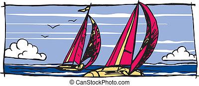 Sailboat graphic Vector