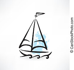 sailboat grunge icon