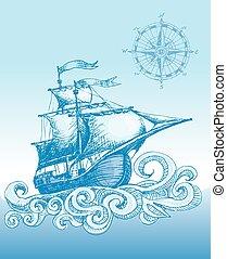 Sailboat - Hand drawn sailboat and compass. Eps8. CMYK....