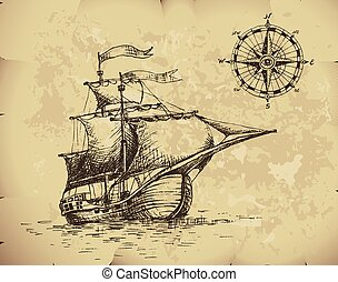 Sailboat - Hand drawn sailboat and compass on old paper....