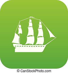 Sailboat icon green vector isolated on white background