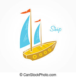 Sailboat  - Icon stylized sailboat