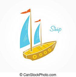 Sailboat  - Icon stylized sailboat