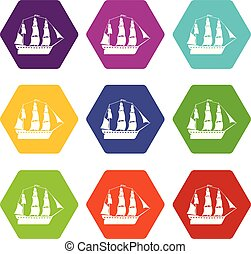 Sailboat icons 9 set coloful isolated on white for web