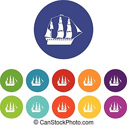 Sailboat icons color set vector for any web design on white background