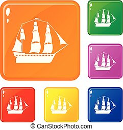 Sailboat icons set collection vector 6 color isolated on white background