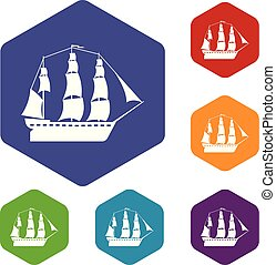 Sailboat icons vector colorful hexahedron set collection isolated on white