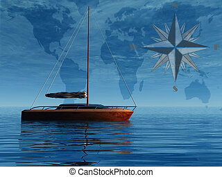 Sailboat in front of map