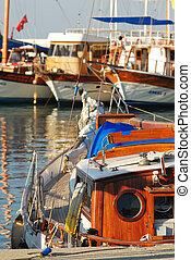 Sailboat in harbor. Kemer, Antalya, Turkey