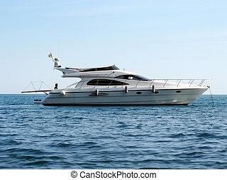 Sailboat in ocean. Element of design.