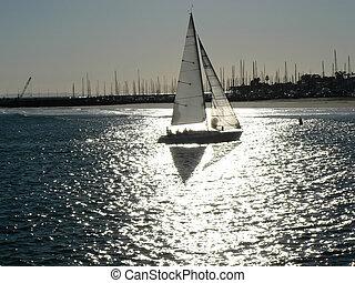 Sailboat in silver light near Santa Barbara, California, USA