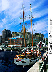 This is a sailboat anchored in Halifax, Nova Scotia, Canada.