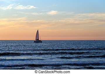 Sailboat in the ocean on a beautiful day