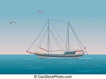 Sailboat in the sea and birds