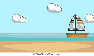 Sailboat in the sea HD animation - Sailboat passing by beach...
