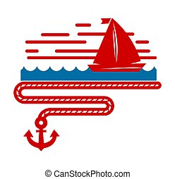 Sailboat isolated marine icon ship in sea and ocean