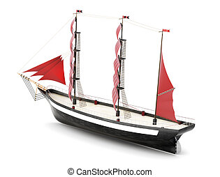 Sailboat isolated on a white background. 3d rendering
