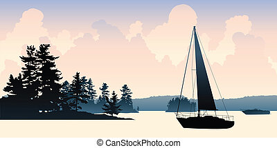 Sailboat Lake - A silhouette of a sailboat floating on a...