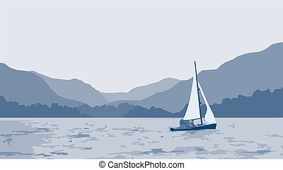 Sailboat lake scene - A serene image of a sailing boat on a...