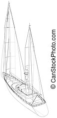 Sailboat line. EPS10 format. Wire-frame Vector created of 3d