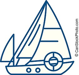 Sailboat line icon concept. Sailboat flat vector symbol, sign, outline illustration.