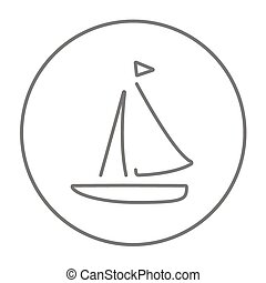 Sailboat line icon. - Sailboat line icon for web, mobile and...