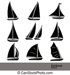 sailboat line icon set