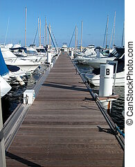 Landscape of sailboat marina with yachts in a sunny day, France