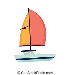 sailboat maritime emblem icon