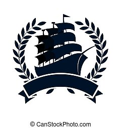 sailboat maritime emblem icon vector illustration design