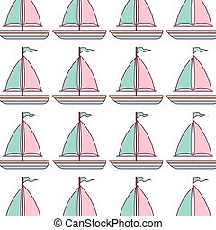 sailboat maritime pattern isolated icon