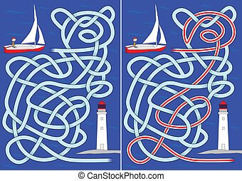 Sailboat maze for kids with a solution