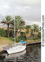 Sailboat Moored In Waterway - Beautiful evening in Florida....