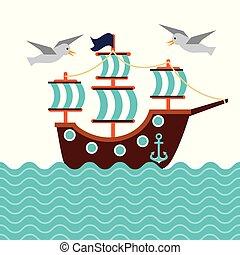 sailboat nautical seabird anchor marine concept vector...