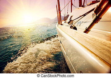 sailboat., navigazione, yachting, yacht, contro, sunset.