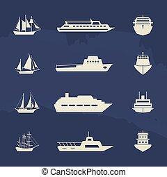 sailboat, navio, grunge, cobrança, ícones