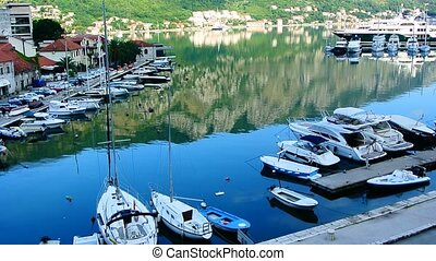 Sailboat near the old town of Kotor, Bay of Kotor,...