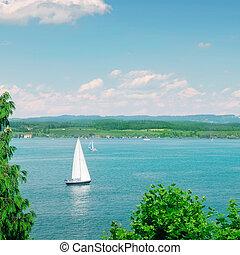 Sailboat on a beautiful lake