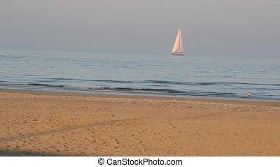 Sailboat on a winter sea