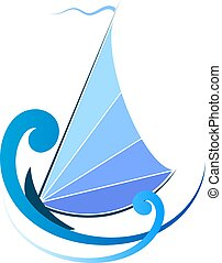 Sailboat on blue waves