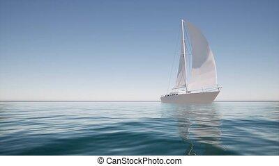 Sailboat on calm water For lifestyle design Summer landscape 4k