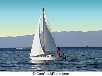 Sailboat on Lake - Peaceful picture of a sailboat on a quiet...