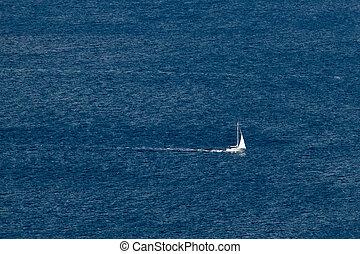 Sailboat on open sea
