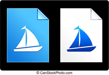 Sailboat on Paper Set Original Vector Illustration AI 8...
