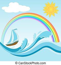 Sailboat on sea waves with rainbow