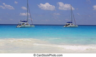 Sailboat on the beach Anse Georgette