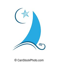Sailboat on the crest of the wave, moon, star.